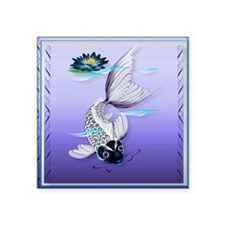 "MensWalletWhite Koi-Blue Li Square Sticker 3"" x 3"""
