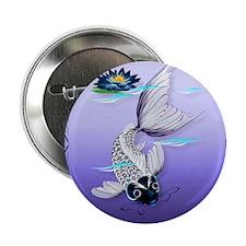 "MensWalletWhite Koi-Blue Lily 2.25"" Button"