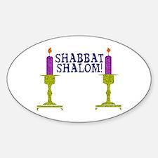 Shabbat Shalom! Oval Decal