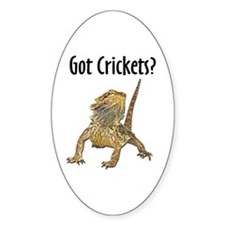 Bearded Dragon Got Crickets Oval Decal