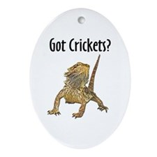 Bearded Dragon Got Crickets Oval Ornament
