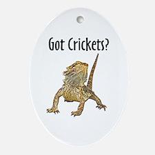 Bearded Dragon Got Crickets Oval Ornament