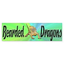 Bearded Dragon Bumper Sticker w/ green background