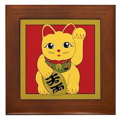 Gold Meneki Neko Framed Tile