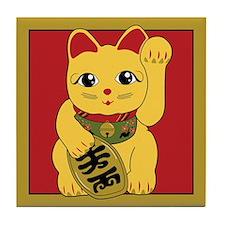 Gold Meneki Neko Tile Coaster