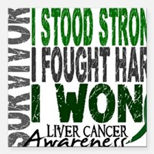 "D Survivor 4 Liver Cance Square Car Magnet 3"" x 3"""