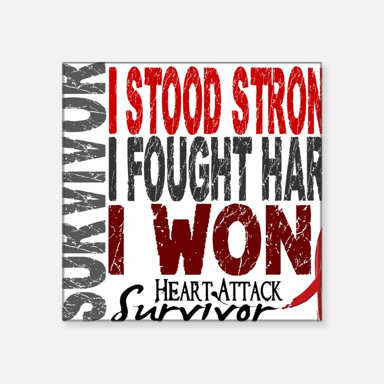 """D Survivor 4 Heart Attack Square Sticker 3"""" x 3"""""""