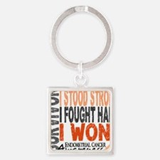 D Survivor 4 Endometrial Cancer Square Keychain
