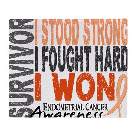 D Survivor 4 Endometrial Cancer Throw Blanket