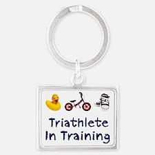 Triathlete_In_Ttraining Landscape Keychain