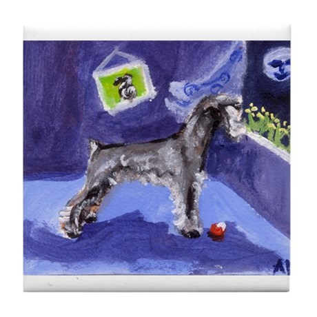 Schnauzer sees moon Tile Coaster