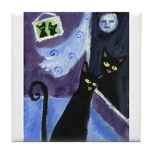 Black cat courting Tile Coaster