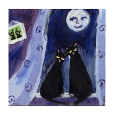 Black cats under moonlight Tile Coaster