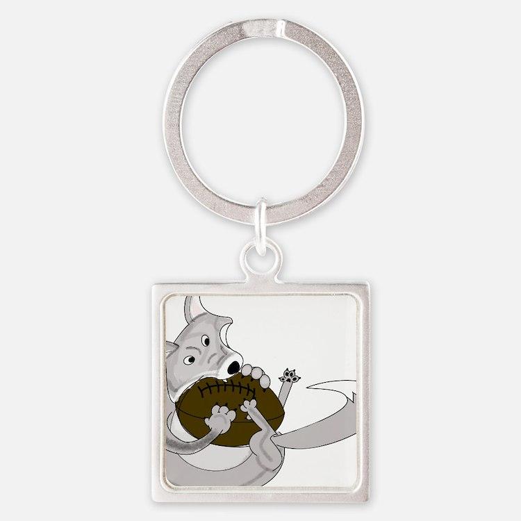 silve fox.gif Square Keychain