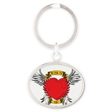 jesus-heart-tatoo Oval Keychain