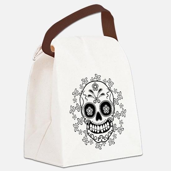 Sugar Skull.B  W Canvas Lunch Bag