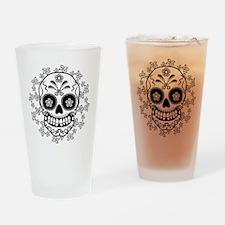 Sugar Skull.B  W Drinking Glass