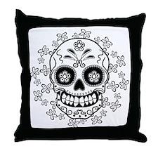 Sugar Skull.B  W Throw Pillow