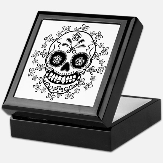 Sugar Skull.B  W Keepsake Box