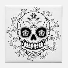 Sugar Skull.B  W Tile Coaster