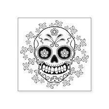 """Sugar Skull.B  W Square Sticker 3"""" x 3"""""""