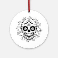 Sugar Skull.B  W Round Ornament