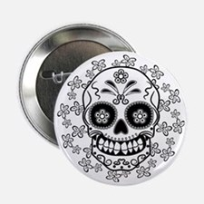 "Sugar Skull.B  W 2.25"" Button"