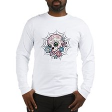 Sweet Sugar Skull  Flowers Long Sleeve T-Shirt