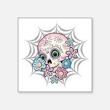 "Sweet Sugar Skull  Flowers Square Sticker 3"" x 3"""