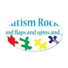 Autism rocks Oval Car Magnet