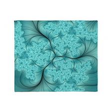 teal feather fractal art Throw Blanket