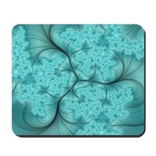 teal feather fractal art Mousepad
