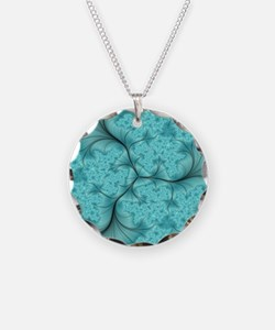 teal feather fractal art Necklace