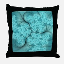 teal feather fractal art Throw Pillow