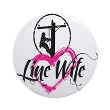 high voltage line wife front white  Round Ornament