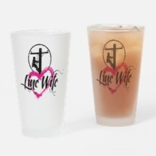 high voltage line wife front white  Drinking Glass