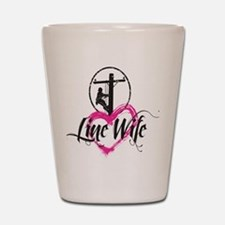 high voltage line wife front white shir Shot Glass