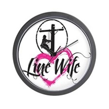 high voltage line wife front white shir Wall Clock