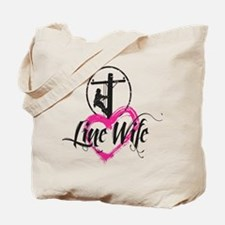 high voltage line wife front white shirt Tote Bag