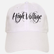 high voltage text black Baseball Baseball Cap