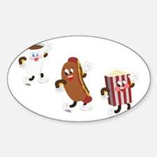 soda hotdog popcorn Sticker (Oval)