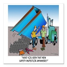 """8153_safety_cartoon Square Car Magnet 3"""" x 3"""""""