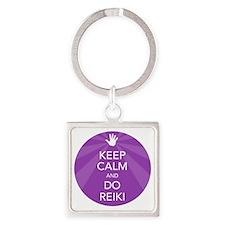 SHIRT KEEP CALM PURPLE Square Keychain