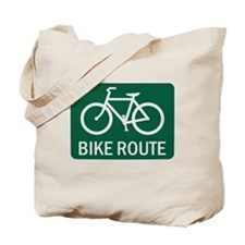 Bike Route Road Sign Tote Bag