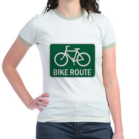 Bike Route Road Sign Jr. Ringer T-Shirt