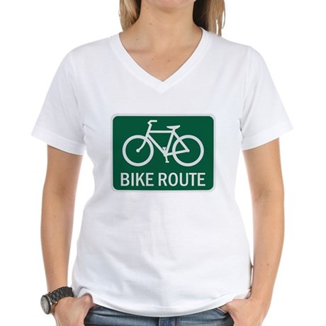 Bike Route Road Sign Women's V-Neck T-Shirt