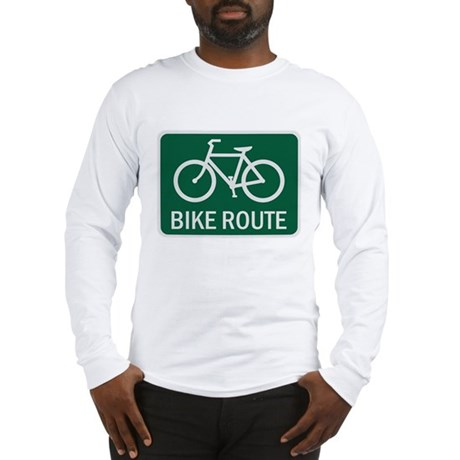 Bike Route Road Sign Long Sleeve T-Shirt