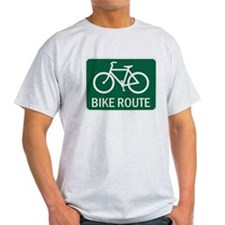 Bike Route Road Sign T-Shirt