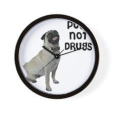NEW-pugs-not-drugs-BonW Wall Clock
