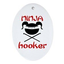 ninja hooker (crochet) Oval Ornament